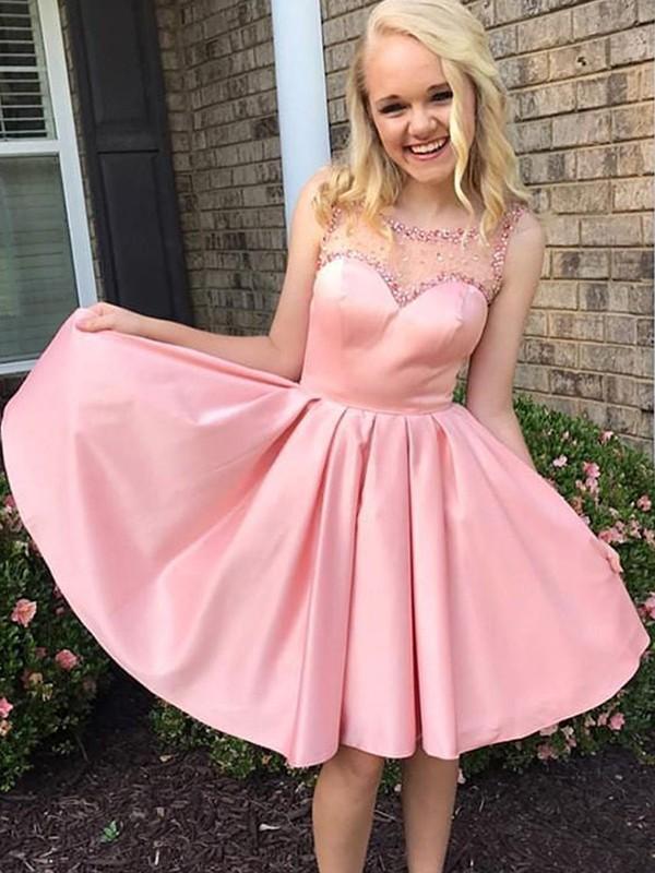 Modern Mood Princess Style With Ruffles Bateau Satin Knee-Length Dresses