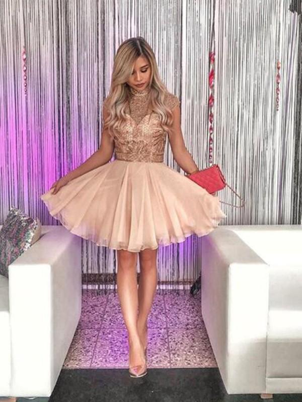 Confident Option Princess Style High Neck Chiffon With Beading Short/Mini Dresses