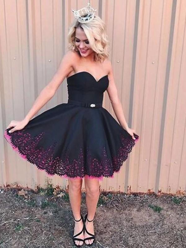 Fabulous Fit Princess Style Sweetheart Satin With Beading Short/Mini Dresses