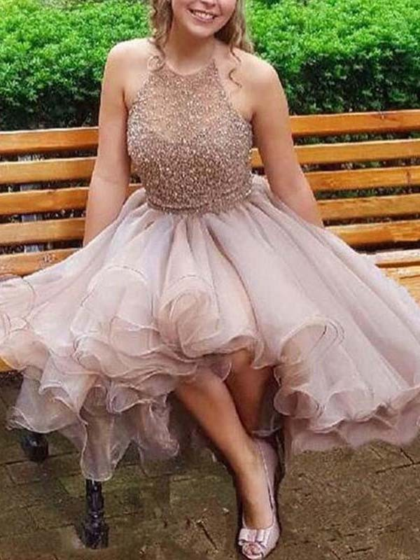 Open to Adoration Princess Style Halter Tulle With Beading Short/Mini Dresses