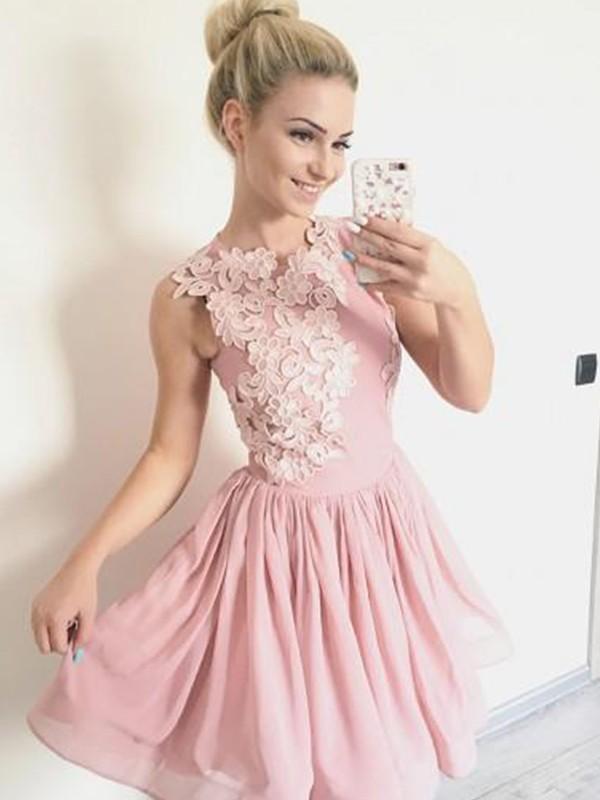Stylish Refresh Princess Style Scoop Chiffon With Applique Short/Mini Dresses