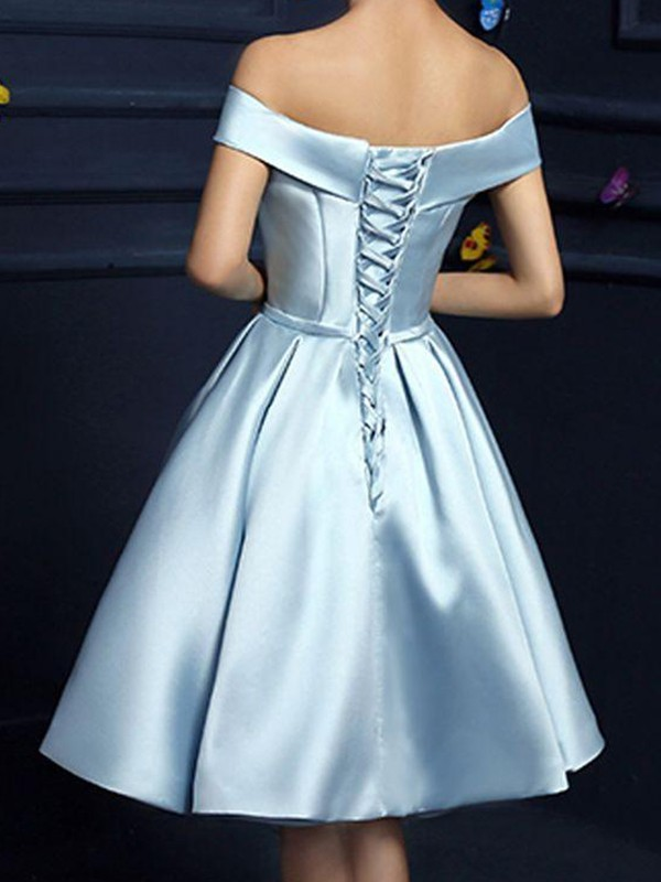 Just My Style Princess Style Satin Off-the-Shoulder With Bowknot Knee-Length Dresses