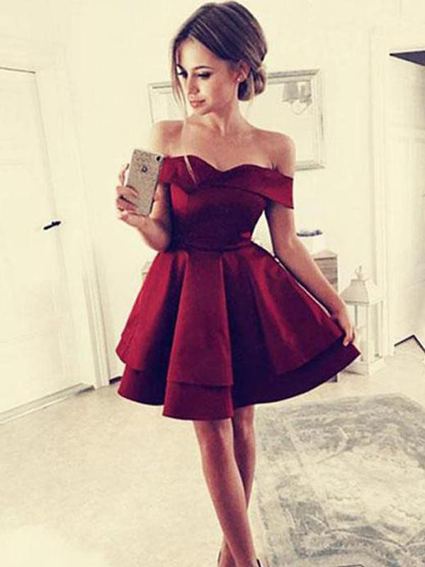Romantic Vibes Princess Style With Ruffles Satin Off-the-Shoulder Short/Mini Dresses