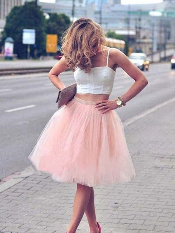 Naturally Chic Princess Style Tulle With Pleats Spaghetti Straps Knee-Length Two Piece Dresses