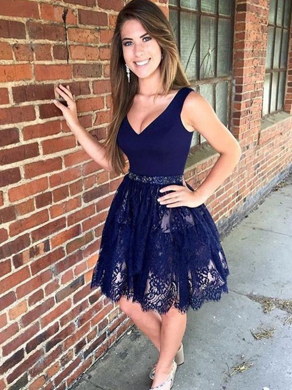 Embracing Grace Princess Style With Beading V-neck Lace Short/Mini Dresses