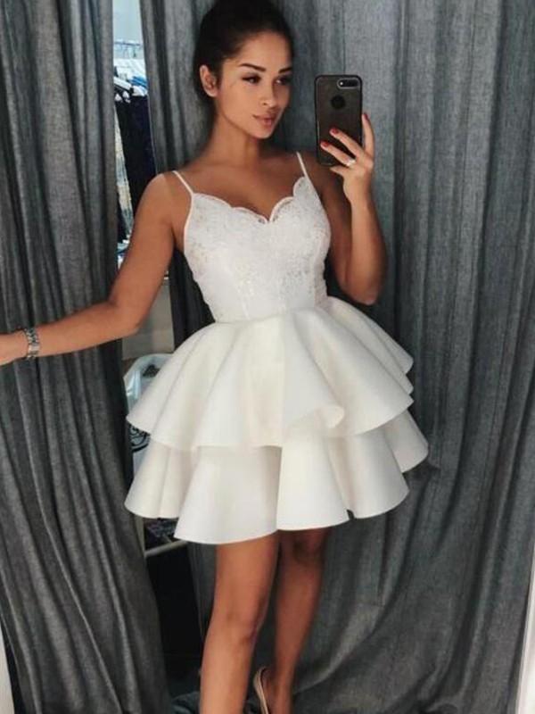 Befits Your Brilliance Princess Style Satin With Ruffles Spaghetti Straps Short/Mini Dresses