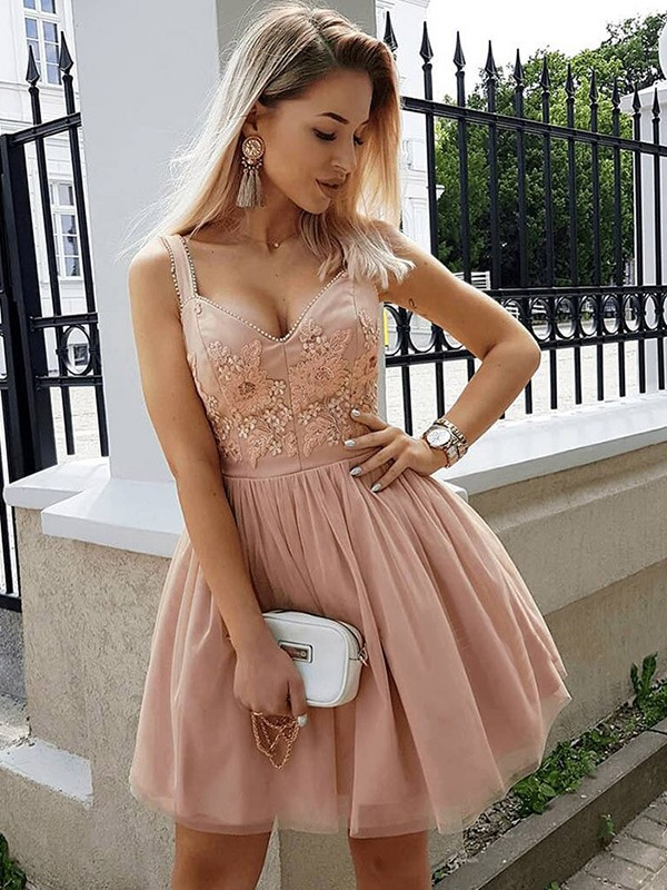 Automatic Classic Princess Style Straps Tulle With Beading Short/Mini Dresses