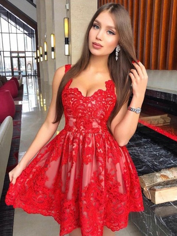 Cordially Delighted Princess Style Straps Lace With Applique Short/Mini Dresses