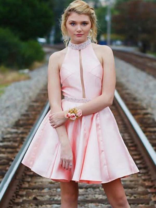 Fabulous Fit Princess Style Satin High Neck With Beading Short/Mini Dresses
