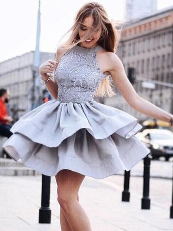 Visual Moment Princess Style Satin With Ruffles Halter Short/Mini Dresses
