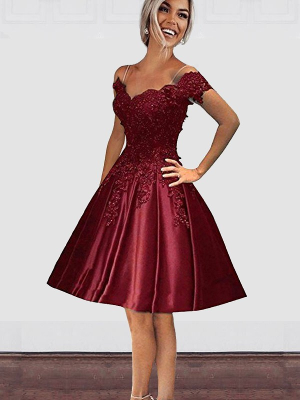 Intuitive Impact Princess Style Off-the-Shoulder Knee-Length With Applique Satin Dresses