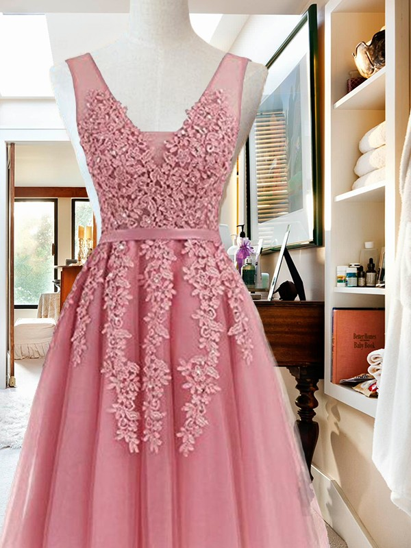Absolute Lovely Princess Style V-neck Short/Mini With Applique Tulle Dresses