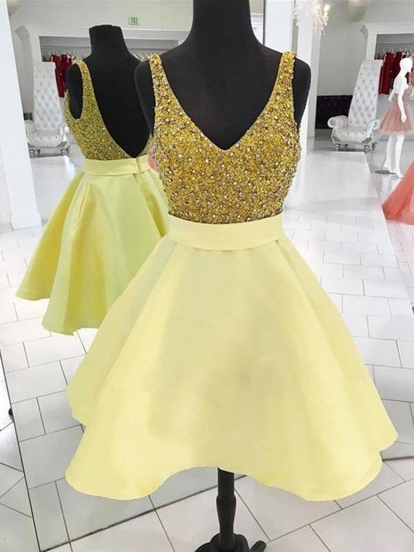 Aesthetic Honesty Princess Style V-neck Short/Mini With Beading Satin Dresses