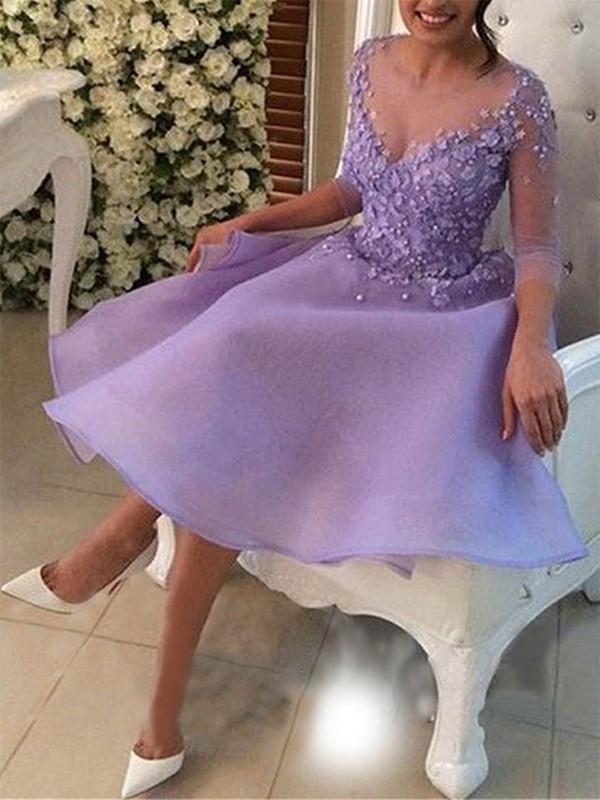 Chic Chic London Princess Style V-neck Knee-Length With Applique Organza Dresses