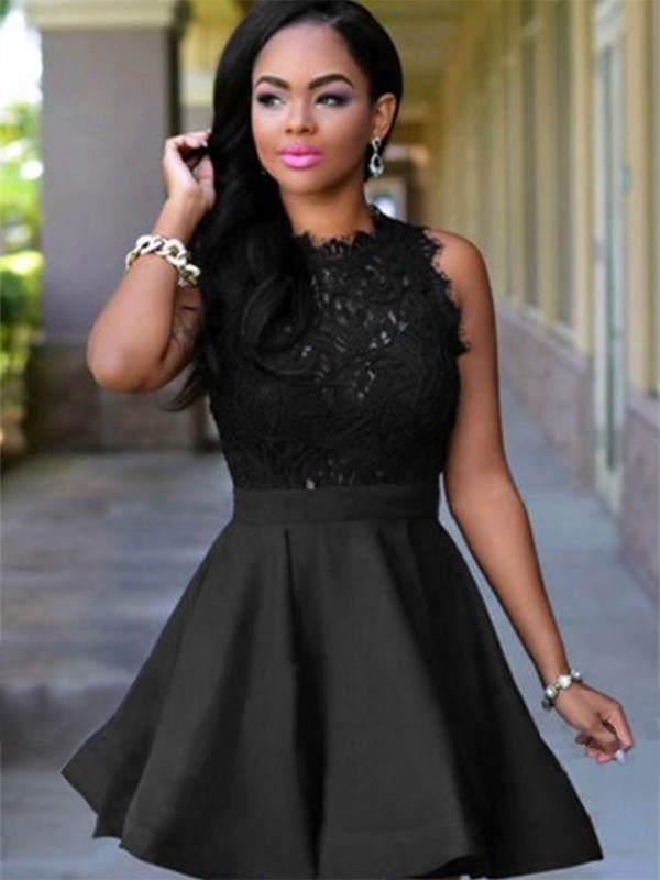 Time to Shine Princess Style Jewel Short/Mini With Lace Satin Dresses