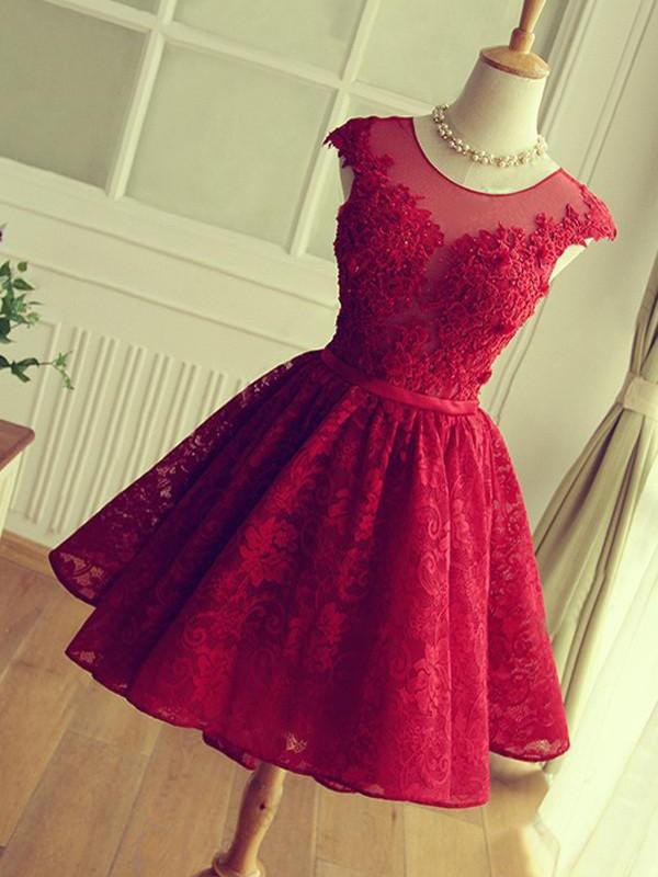 Treasured Reveries Princess Style Jewel Short/Mini With Applique Lace Dresses