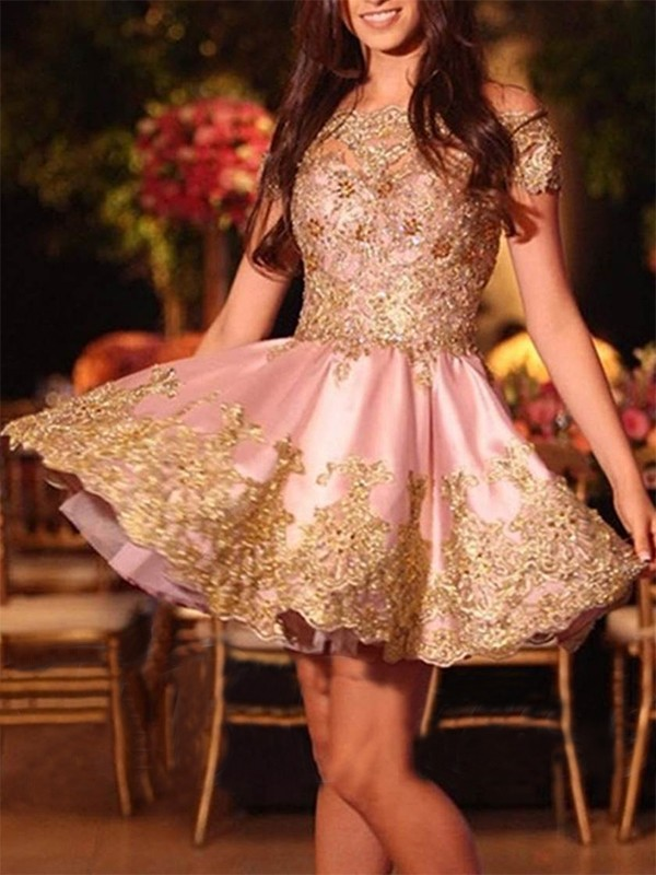 Limitless Looks Princess Style Off-the-Shoulder Short/Mini With Applique Satin Dresses