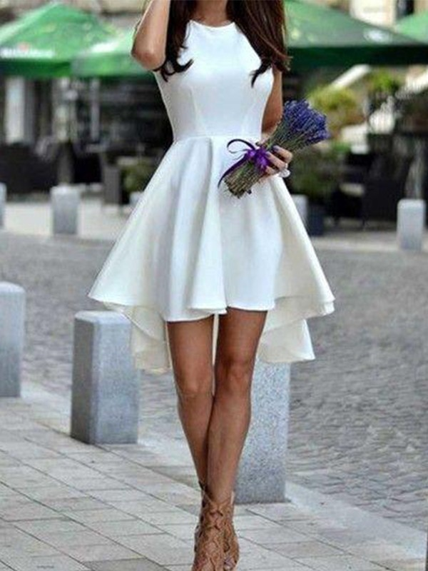 Desired Spotlight Princess Style Jewel Short/Mini With Ruffles Satin Dresses