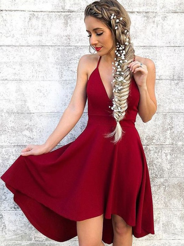 Vibrant Stylist Princess Style Halter Stretch Crepe With Ruffles Knee-Length Dresses