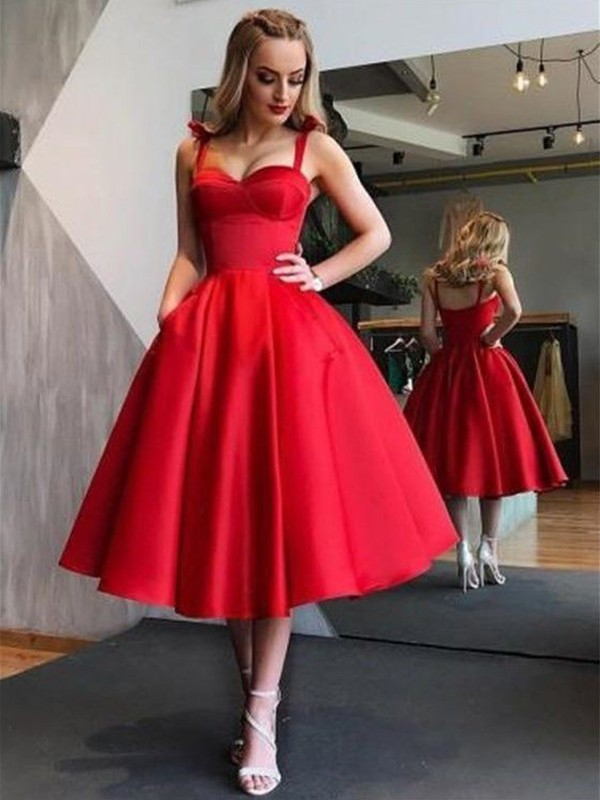 Yours Truly Princess Style Straps Satin With Ruffles Tea-Length Dresses