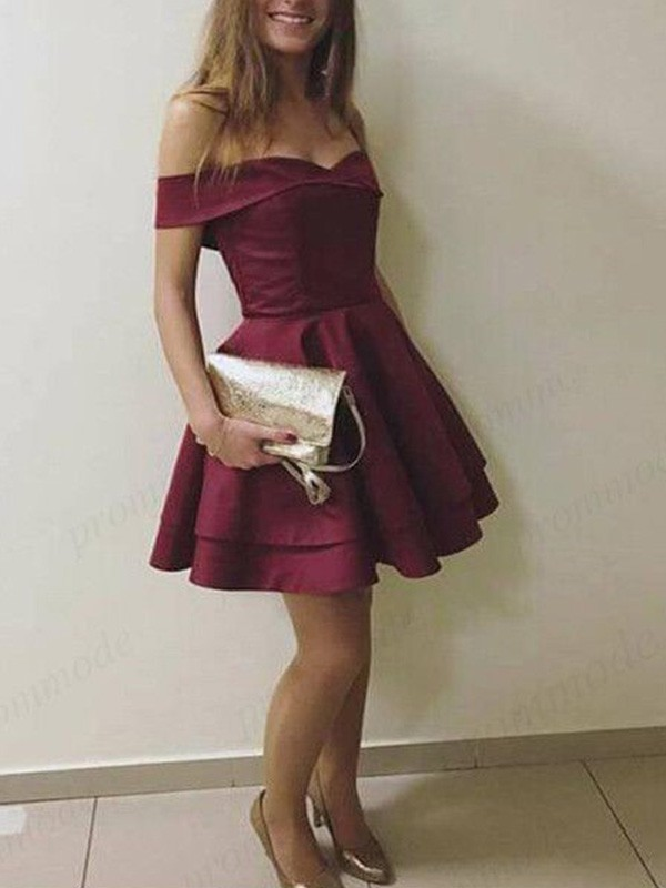Romantic Vibes Princess Style Off-the-Shoulder Satin With Layers Short/Mini Dresses