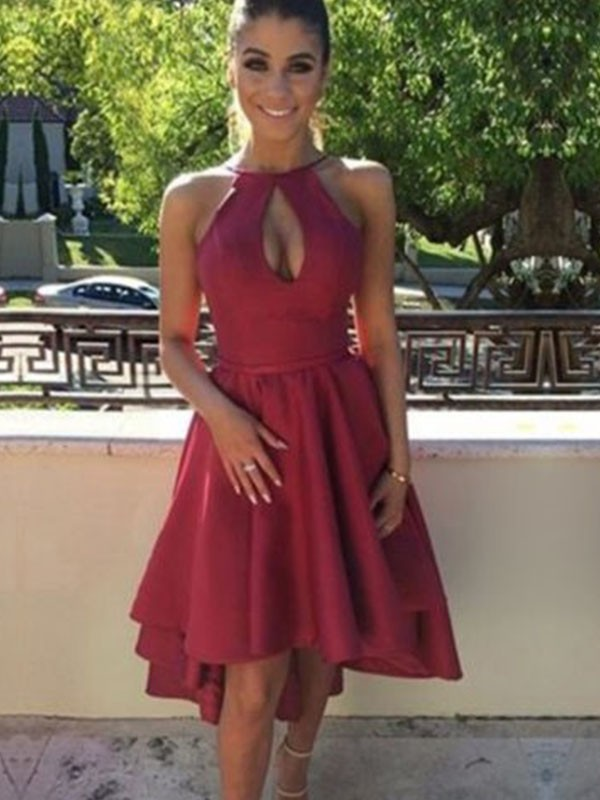 Modern Mood Princess Style Satin Asymmetrical With Ruched Halter Dresses