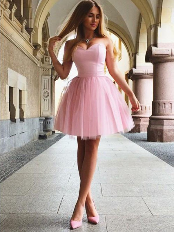 Savor the Occasion Princess Style Sweetheart With Ruffles Satin Short/Mini Dresses