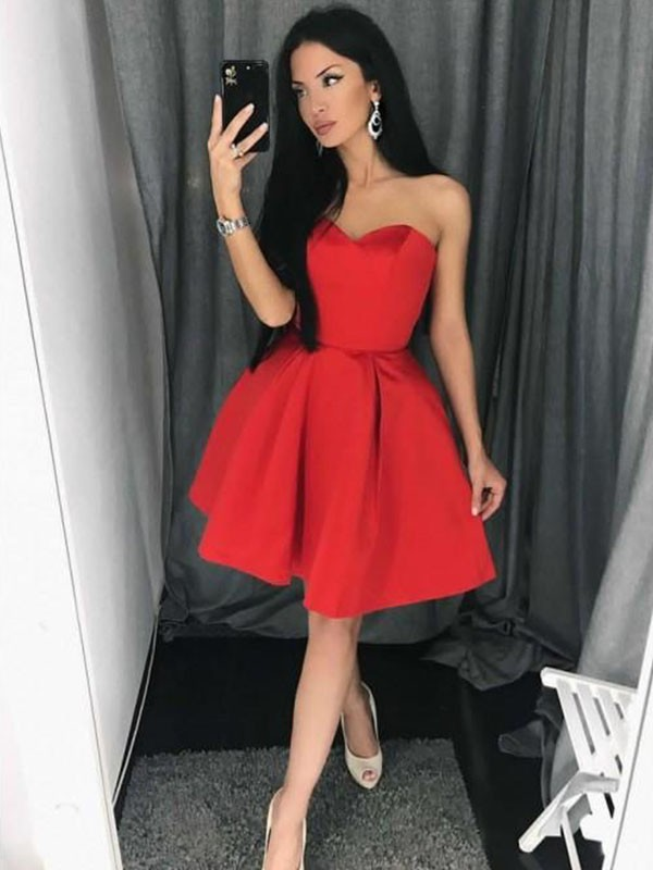 Intuitive Impact Princess Style Satin Sweetheart With Ruffles Short/Mini Dresses