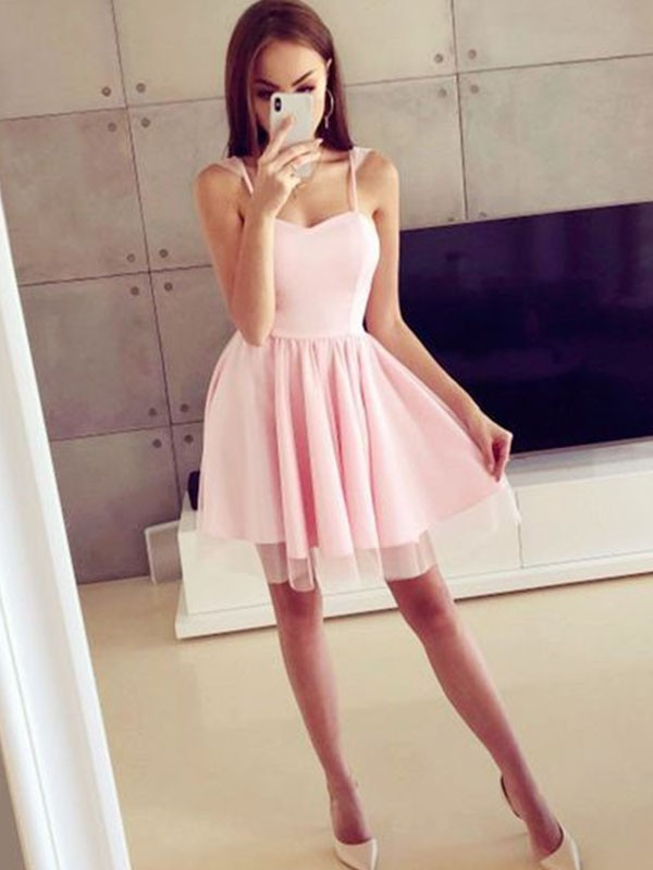 Aesthetic Honesty Princess Style Satin Spaghetti Straps With Ruched Short/Mini Dresses