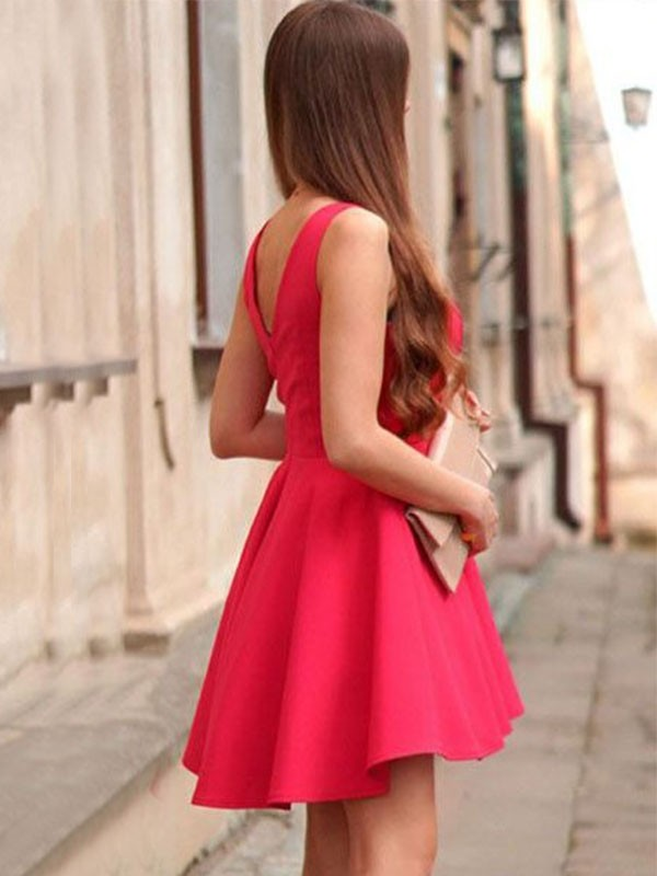 Pleasant Emphasis Princess Style Satin V-neck With Ruffles Short/Mini Dresses