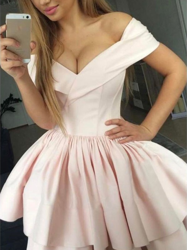 Treasured Reveries Princess Style Satin With Ruched Off-the-Shoulder Short/Mini Dresses