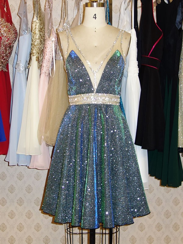 Limitless Looks Princess Style V-neck Sequins With Beading Short/Mini Dresses