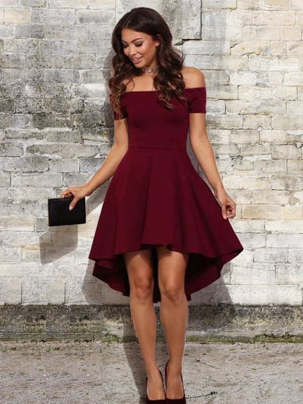 Creative Courage Princess Style Off-the-Shoulder Short With Ruffles Stretch Crepe Dresses