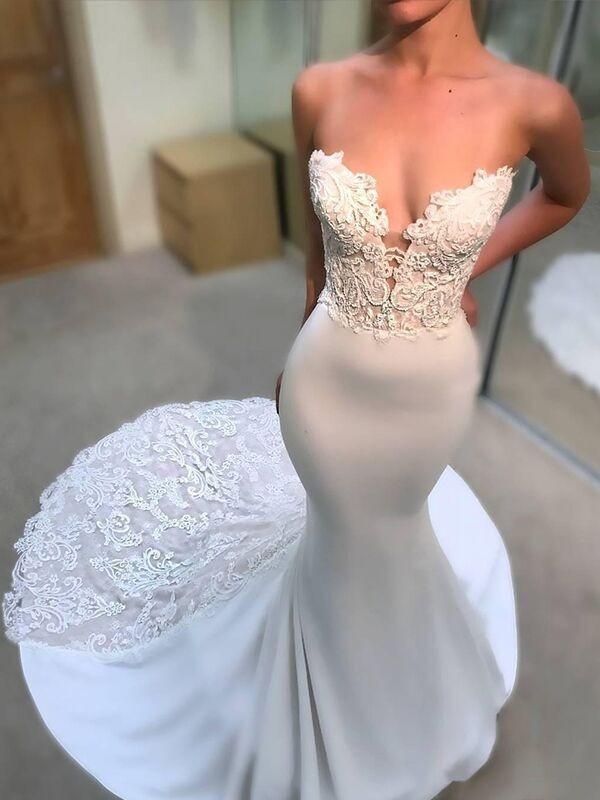 Pleasant Emphasis Mermaid Style V-neck Lace Court Train Satin Wedding Dresses