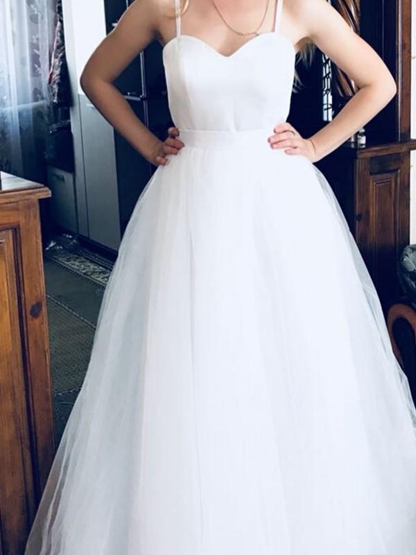 Voiced Vivacity Princess Style Spaghetti Straps Sweep/Brush Train Tulle Wedding Dresses