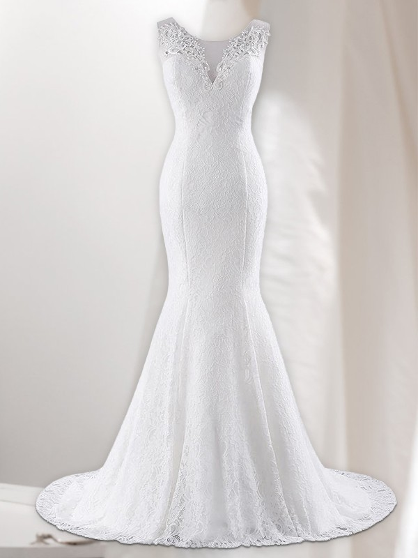 Automatic Classic Mermaid Style V-neck Lace Sweep/Brush Train Wedding Dresses