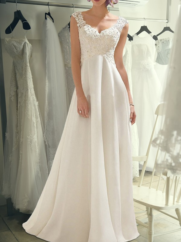 Cordially Delighted Empire Floor-Length V-neck Lace Chiffon Wedding Dresses