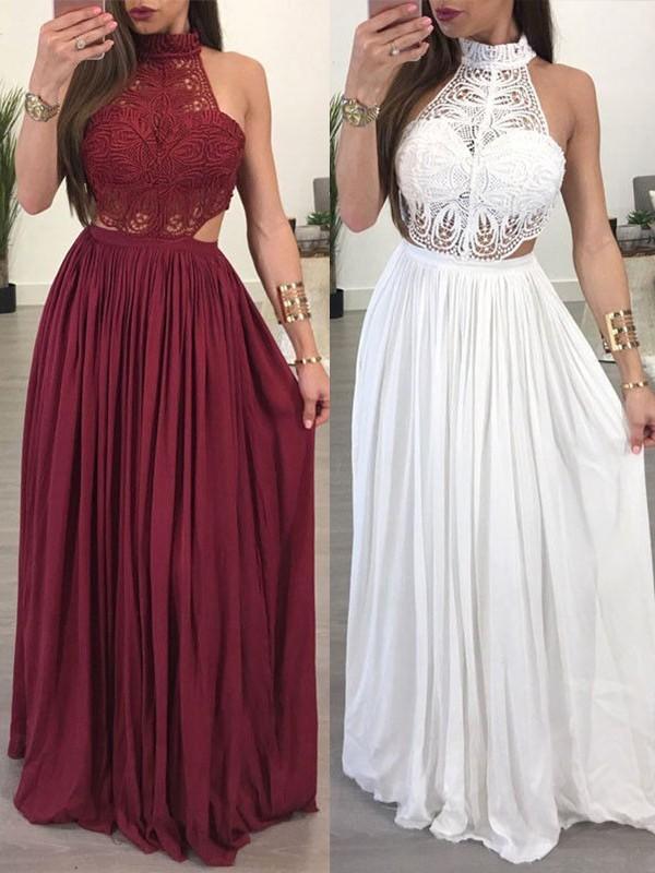 Confident Option Princess Style Halter Floor-Length Chiffon Lace Dresses