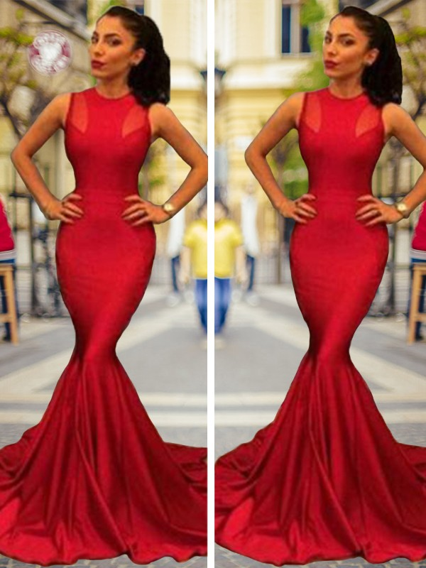 Cheerful Spirit Mermaid Style Jewel Court Train Elastic Woven Satin Dresses