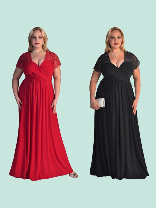 Vibrant Stylist Princess Style V-neck Floor-Length Lace Chiffon Plus Size Dresses