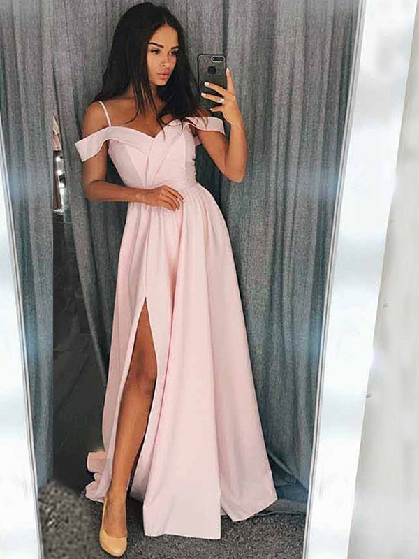 Modern Mood Princess Style Off-the-Shoulder Sweep/Brush Train With Ruffles Elastic Woven Satin Dresses