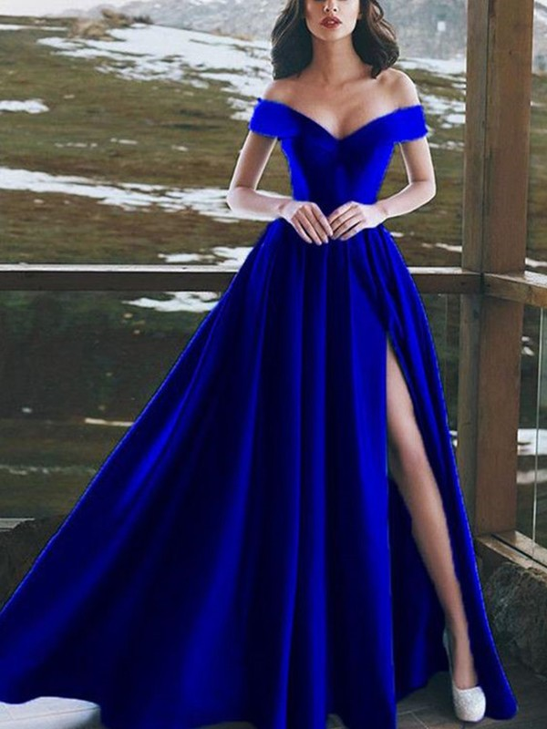 Savor the Occasion Princess Style Off-the-Shoulder Floor-Length With Ruffles Satin Dresses