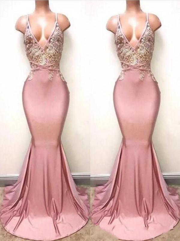 Lively Identity Trumpet/Mermaid Style V-neck Sweep/Brush Train Lace Satin Dresses