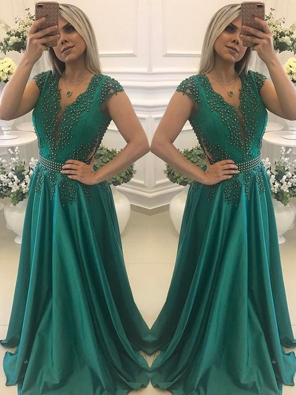 Yours Truly Princess Style V-neck Floor-Length Beading Silk like Satin Dresses