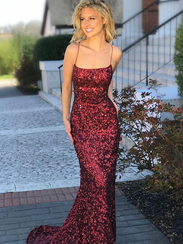 Beautiful You Trumpet/Mermaid Style Spaghetti Straps Sweep/Brush Train Sequins Dresses