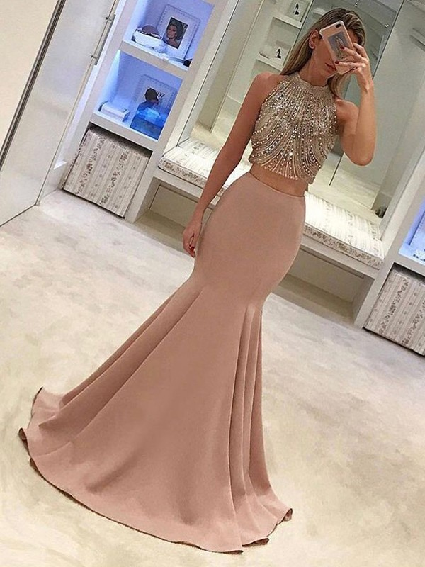 Modern Mood Trumpet/Mermaid Style High Neck Sweep/Brush Train Beading Satin Two Piece Dresses