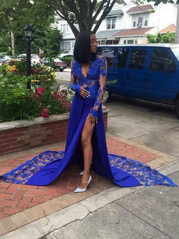 Pleasant Emphasis Princess Style V-neck Court Train Applique Satin Dresses