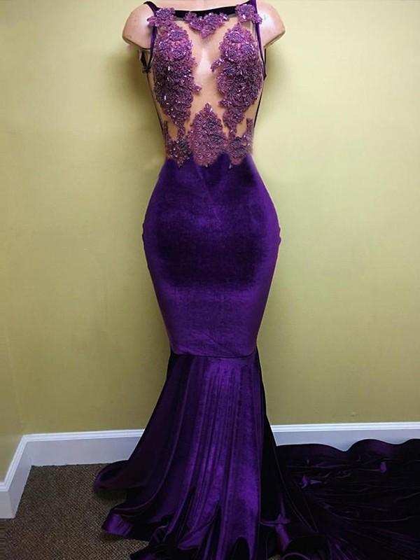 Comfortably Chic Trumpet/Mermaid Style Bateau Sweep/Brush Train Applique Velvet Dresses