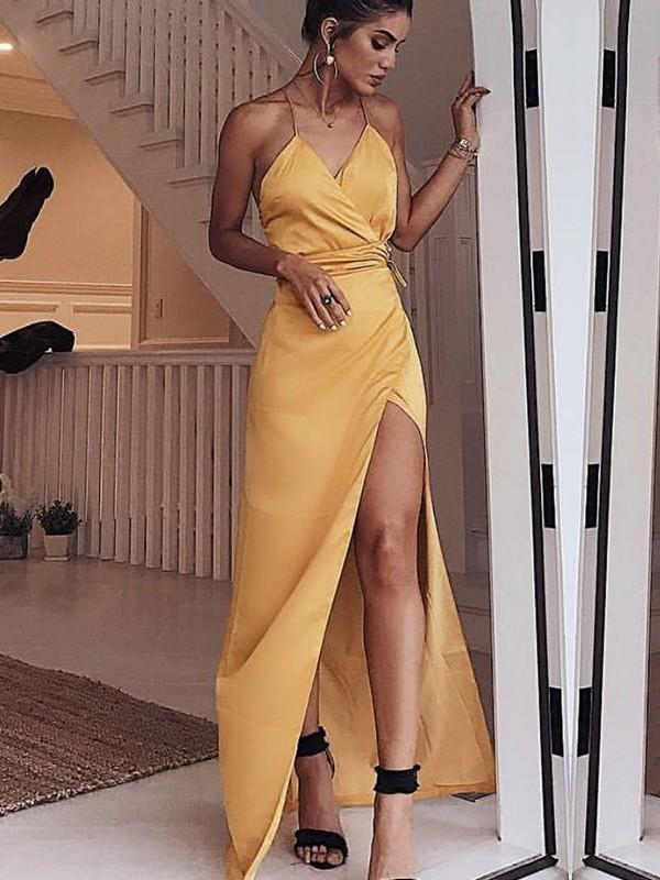 Styled to Smile Sheath Style/Column Spaghetti Straps Floor-Length Sash/Ribbon/Belt Satin Dresses