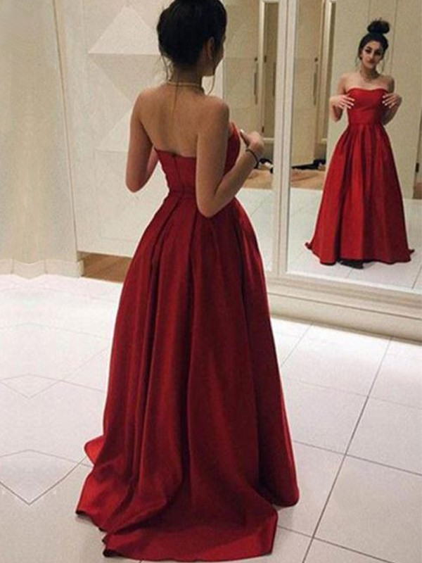 Lively Identity Princess Style Strapless Sweep/Brush Train Ruffles Stain Dresses